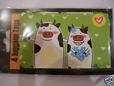 LUGGAGE LABELS TAGS x 4      HAPPY COW COUPLE