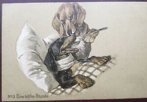 """Vintage Coloured Postcard Dachsund Dogs """"A Bitter Hour"""""""