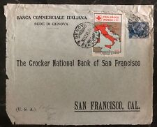 1915 Genoa Italy Commercial Bank Front cover San Francisco Ca USA RedCross Label