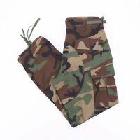 Vintage Green Army Woodland Camo Printed Men's Combat Cargo Pants W32 L31