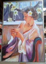 Leinwand Gemälde Blumen Mädchen Geisha Vintage Deko Geschenk 80x120 cm