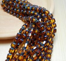 25 6mm Dark Topaz Beads Faceted Octagonal Cathedral Czech Brown Glass D-B16