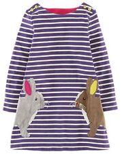Vestidos de niña de 2 a 16 años de manga larga en azul 100% algodón