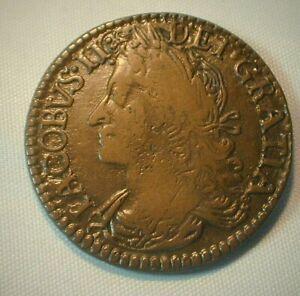 1690 Ireland 1/2 Crown Gun Money King James II KM# 101  (Z325)