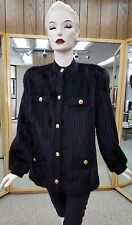 "Black dyed Corded Cut Design Mink 28"" Jacket with Black Knit Trim, size 8"