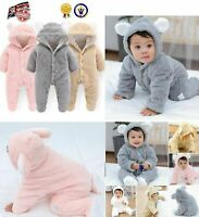 Bear Hooded Romper Jumpsuit Bodysuit Clothes Outfits Newborn Baby Boy Girl Kids
