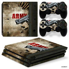PS4 Pro Playstation 4 Console Skin Decal Sticker Army Gun Custom Design Set