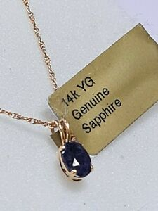 Natural Blue Sapphire Pendant And Necklace In 14k Yellow Gold