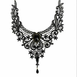 Vintage Black Lace Skull Choker Necklace for Women Girls Halloween Decorations Party Accessory\uff08Adjustable\uff09