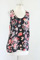 Joie Lali Black Floral Printed Silk Tank Top Blouse Size M Split Back Red Pink