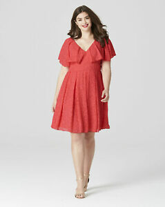 BNWT LOVEDROBE @ SIMPLY BE CORAL BURN OUT FIT & FLARE DRESS SIZE UK 12 RRP £56