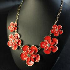 Collar Flor Esmalte Rojo Cristal Retro Moderno Original Noche Matrimonio KS 1
