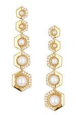 Rachel Zoe 18K Gold Plated Sophia Faux Pearl Drop Earrings NEW