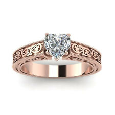 White Topaz 18K Rose Gold Filled Jewelry Wedding Engagement Love Heart Ring Gift