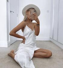 ZARA White Lace Satin Strappy Camisole Slip Midi Dress S