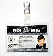 James Bond 007 ID Badge Roger Moore MI6 SI5 Prop Cosplay Costume Comic Con
