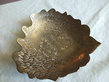 Collectible Brass Embossed Heart Shape Bowl Signed INDIA 5 1/4 x 5 x 1 Inch Tall