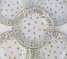 8 Richard Klemm Dresden Reticulated Bread Plates Gold Flowers German Porcelain