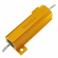 4 Ohm 5% 50 Watt Wirewound Aluminum Case Power Resistor Gold Tone LW