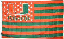 NCAA University of Miami Hurricanes flag Stars & Stripes banner 3X5FT US Shipper