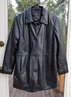 Kathy Ireland Women's Genuine Leather Jacket Coat Button Up Black sz M EUC