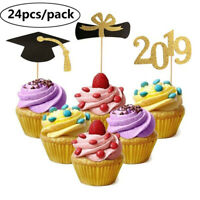 2019 Graduation Cupcake Topper Bachelor Hat Cap Cake Decoration with Toothpick