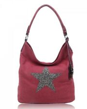 Women's Fashion Canvas Sparkling Shiny Star Tote Shopper Shoulder Handbag Detail