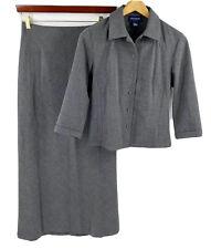 Ann Taylor Womens Skirt Suit Sz 4 Gray Blazer Jacket & Maxi Skirt Stretch Career