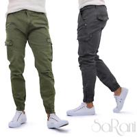 Pantaloni Uomo con Tasconi Laterali Grigio Verde Cotone Casual Slim Fit SARANI