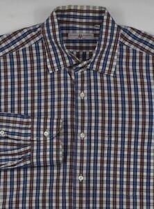* Luciano Barbera * Blue W/ Red & White Plaid 100% Cotton Dress Shirt 16 x 37 XL