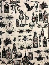 Alexander Henry DARK MAGIC Halloween Bats Potions Skulls Bug Macabre Fabric BTHY