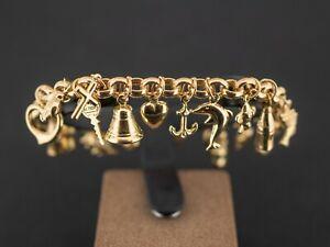 "(SO4) 9ct Yellow Gold Modern Charm Bracelet 7.5"" 17.2grams"