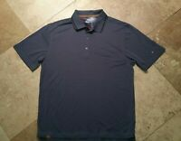 Nike Golf Dri Fit Tour Short Sleeve Polo Golf Shirt Striped Polyester Gray L