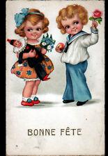 COUPLE D'ENFANT avec JOUET PIERROT / BONNE FETE