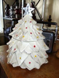 Vintage McCoy Ceramic Christmas Tree Cookie Jar 1959 White w/Silver Tips K8