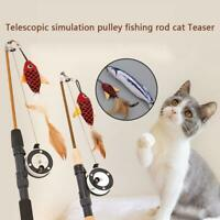 Funny Tease Cat Toy Telescopic Fishing Rod Feathers Stick Pet Interactive Toy AU