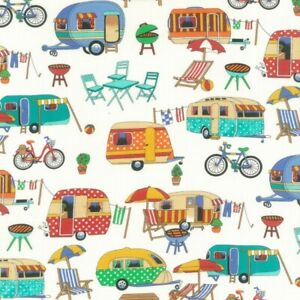 Fat Quarter Nutex Getaway Camping Design 100% Cotton Fabric