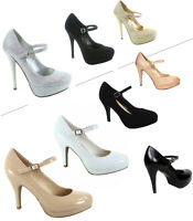 Women's Classic Ankle Strap Round Toe Platform High Heel Pump Shoes Various Size