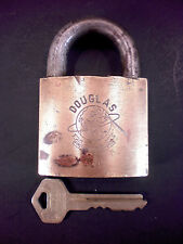 BEST Logo Brass Padlock DOUGLAS 'First Around the World Globe' W/KEY Works Well