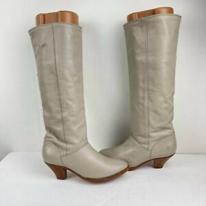 Vintage Frye Women's Gray Leather PULL ON US 6 M TALL WESTERN BOOT Made in USA