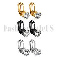 6pcs Fashion Women Stainless Steel Cubic Zirconia Clip On Ear Clip Stud Earrings