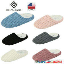 DREAM PAIRS Women's Winter Slippers Comfortable Faux Fur Knitted House Slippers