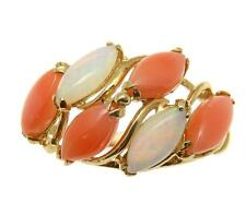 GENUINE NATURAL MARQUISE PINK CORAL AUSTRALIAN OPAL RING SOLID 14K YELLOW GOLD