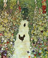 Gustav Klimt Garden Path with Hens Fine Art Print on Canvas Repro Small 8x10