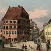 Germany Nurnberg Albrecht Durer Haus c.1830-40 gem print old hand color