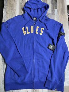 New St Louis Blues Full Zip Hoodie Sweatshirt 47 NHL Men's Size 2XL $95 Retail