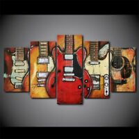 Music Instrument Electric Guitars Picture Canvas Prints Painting Wall Art 5PCS