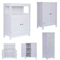 White Floor Cabinet/Cupboard with 2 Doors Bathroom Kitchen Storage 3 Style
