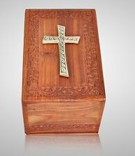 Wooden Cremation Urn w Brass Cross - Large, Rosewood Hand Carved, Great Deal
