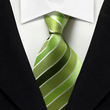 TK003 Green White Stripe New Classic WOVEN Silk JACQUARD Necktie Suits Men's Tie